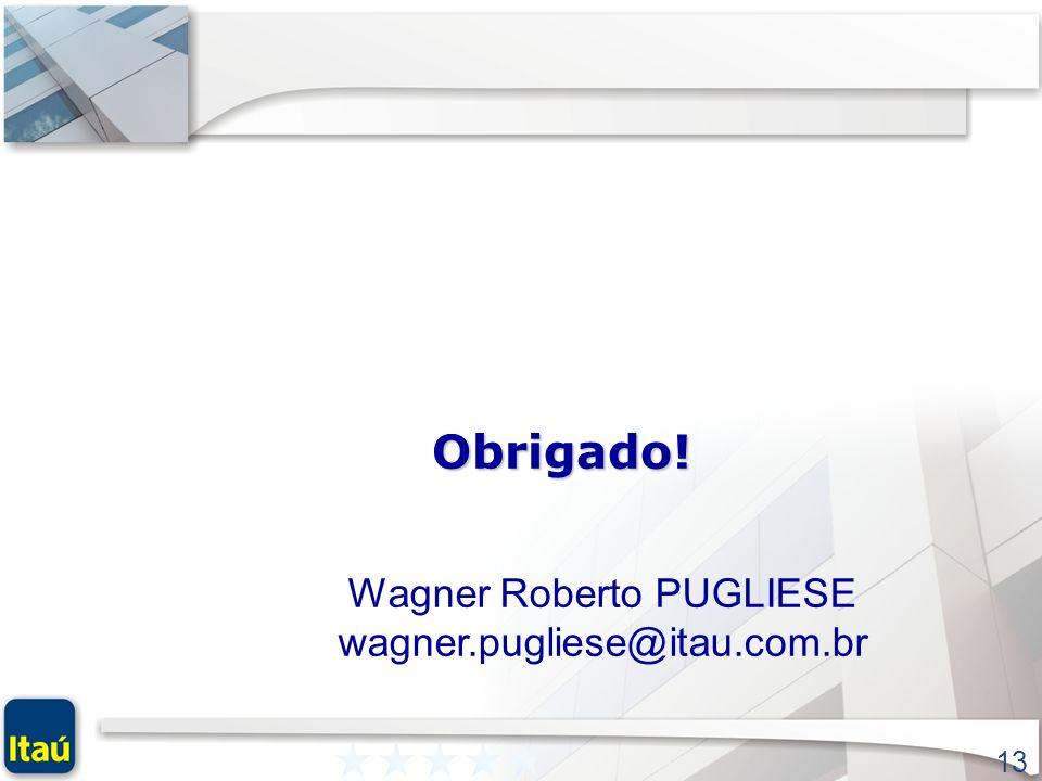 13 Obrigado! Wagner Roberto PUGLIESE wagner.pugliese@itau.com.br