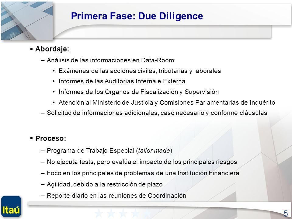 5 Primera Fase: Due Diligence Abordaje: –Análisis de las informaciones en Data-Room: Exámenes de las acciones civiles, tributarias y laborales Informe
