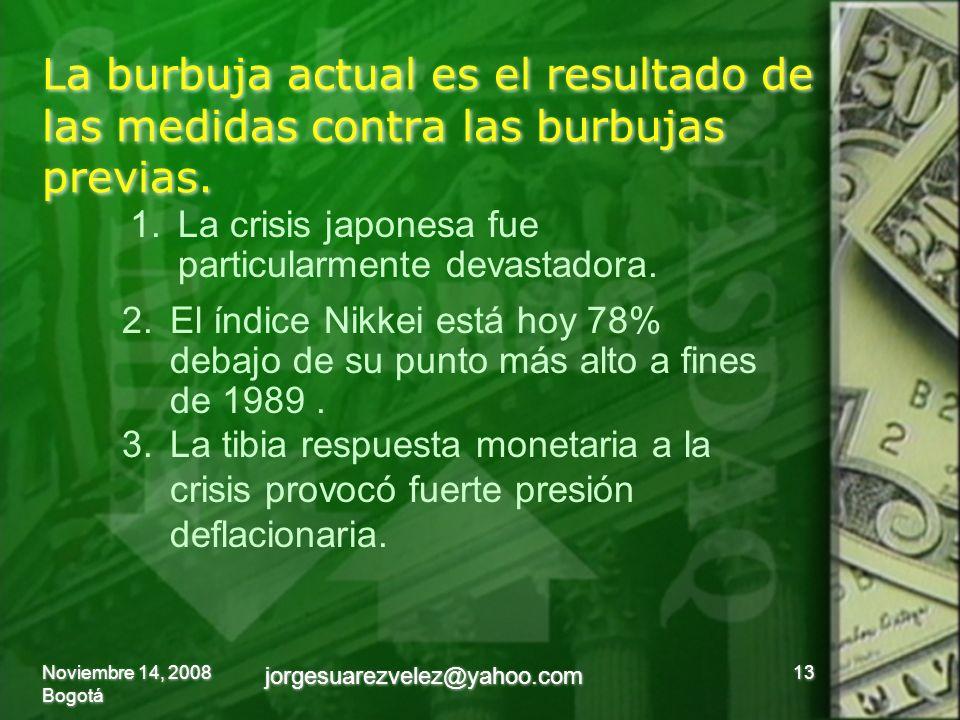 La burbuja actual es el resultado de las medidas contra las burbujas previas. Noviembre 14, 2008 Bogotá 13 jorgesuarezvelez@yahoo.com 1.La crisis japo
