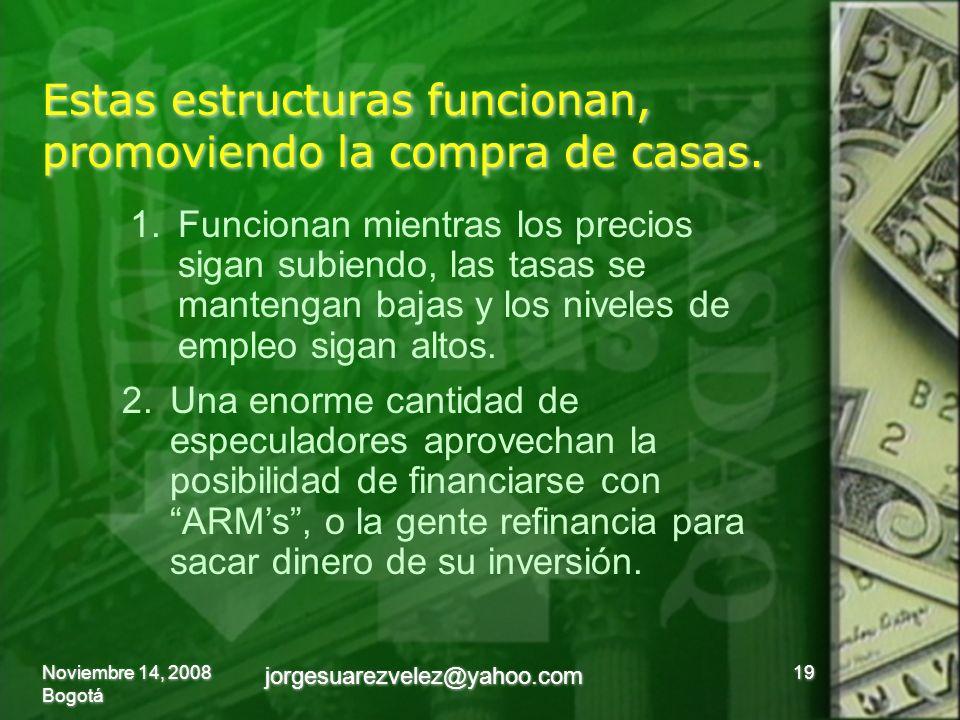 Estas estructuras funcionan, promoviendo la compra de casas. Noviembre 14, 2008 Bogotá 19 jorgesuarezvelez@yahoo.com 1.Funcionan mientras los precios