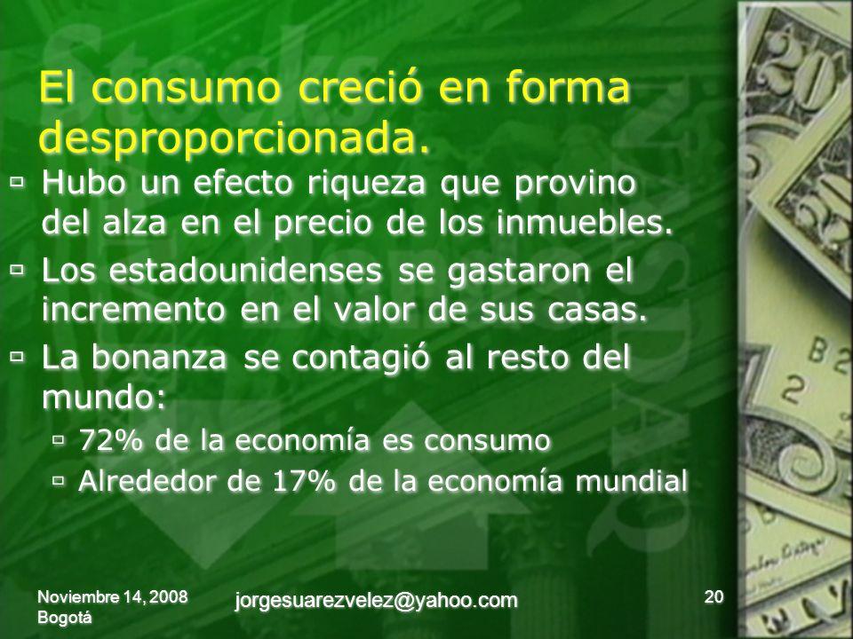 El consumo creció en forma desproporcionada.