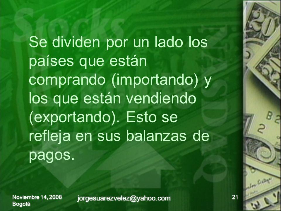 Noviembre 14, 2008 Bogotá jorgesuarezvelez@yahoo.com 21 Se dividen por un lado los países que están comprando (importando) y los que están vendiendo (exportando).
