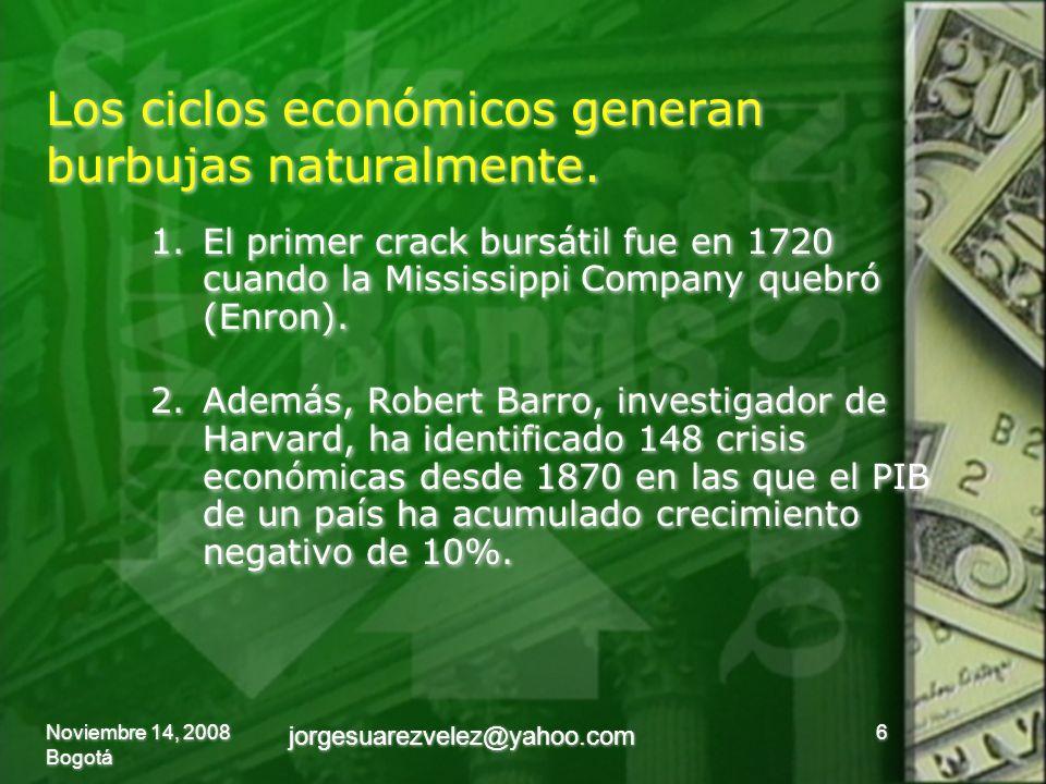 Los ciclos económicos generan burbujas naturalmente. 1.El primer crack bursátil fue en 1720 cuando la Mississippi Company quebró (Enron). 2.Además, Ro