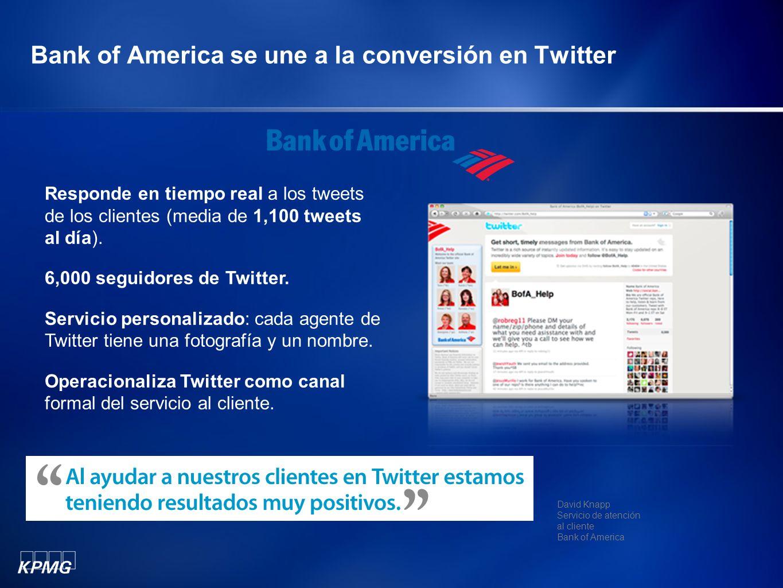 Bank of America se une a la conversión en Twitter Responde en tiempo real a los tweets de los clientes (media de 1,100 tweets al día). 6,000 seguidore