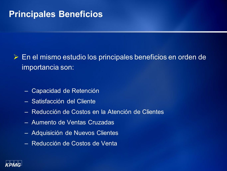 Principales Beneficios En el mismo estudio los principales beneficios en orden de importancia son: –Capacidad de Retención –Satisfacción del Cliente –