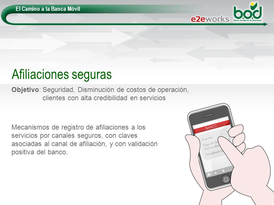 El Camino a la Banca Móvil Objetivo: Seguridad, Disminución de costos de operación, clientes con alta credibilidad en servicios Afiliaciones seguras M