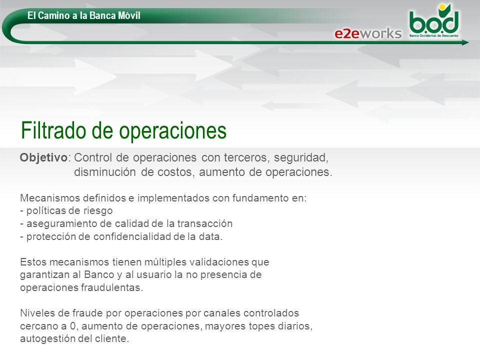 El Camino a la Banca Móvil Objetivo: Control de operaciones con terceros, seguridad, disminución de costos, aumento de operaciones. Filtrado de operac