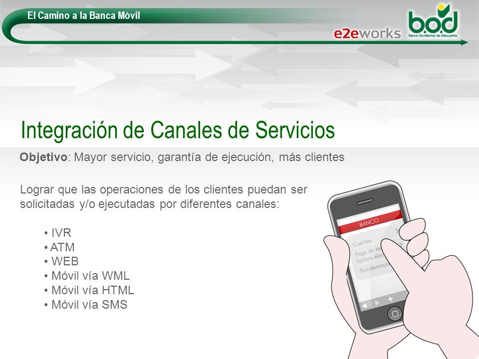 El Camino a la Banca Móvil Objetivo: Mayor servicio, garantía de ejecución, más clientes Integración de Canales de Servicios Lograr que las operacione