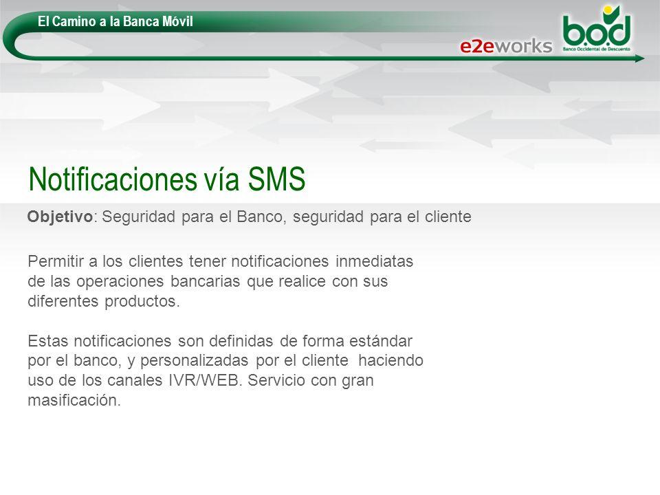 El Camino a la Banca Móvil Objetivo: Seguridad para el Banco, seguridad para el cliente Notificaciones vía SMS Permitir a los clientes tener notificac