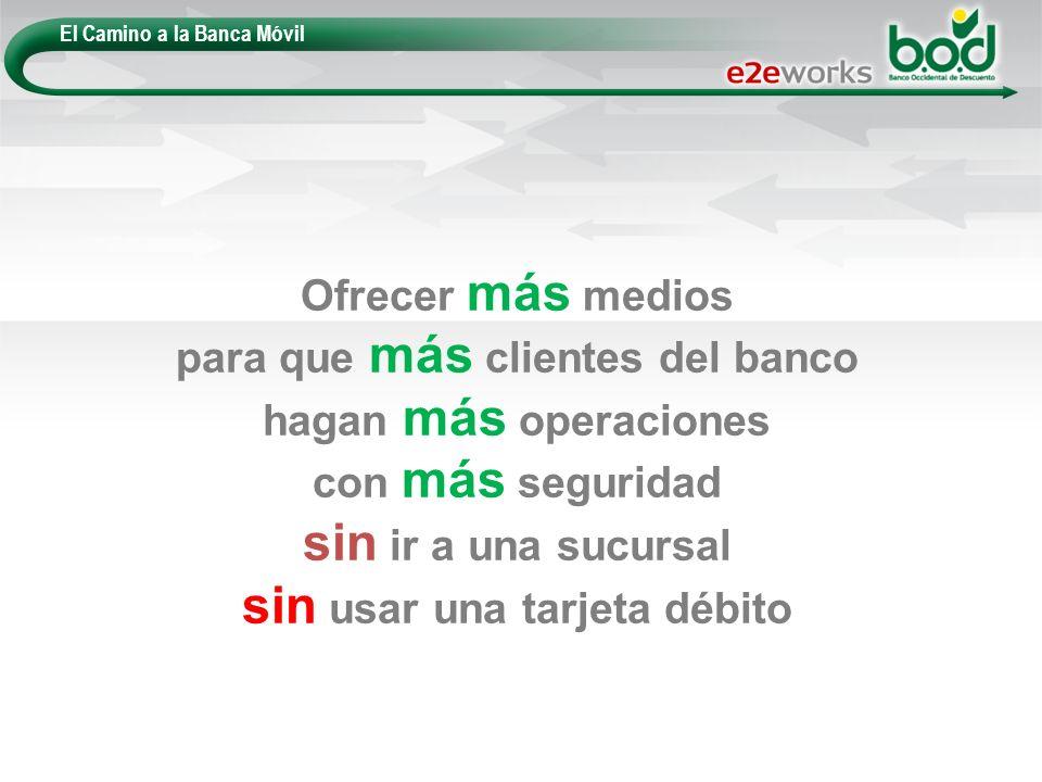 El Camino a la Banca Móvil Ofrecer más medios para que más clientes del banco hagan más operaciones con más seguridad sin ir a una sucursal sin usar u
