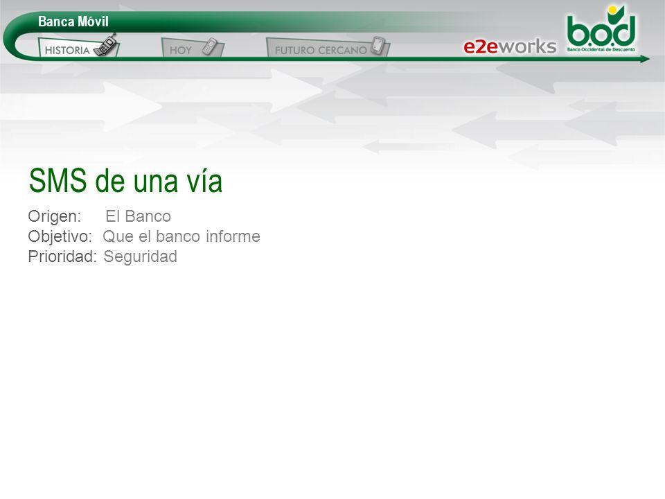 Origen: El Banco Objetivo: Que el banco informe Prioridad: Seguridad SMS de una vía Banca Móvil