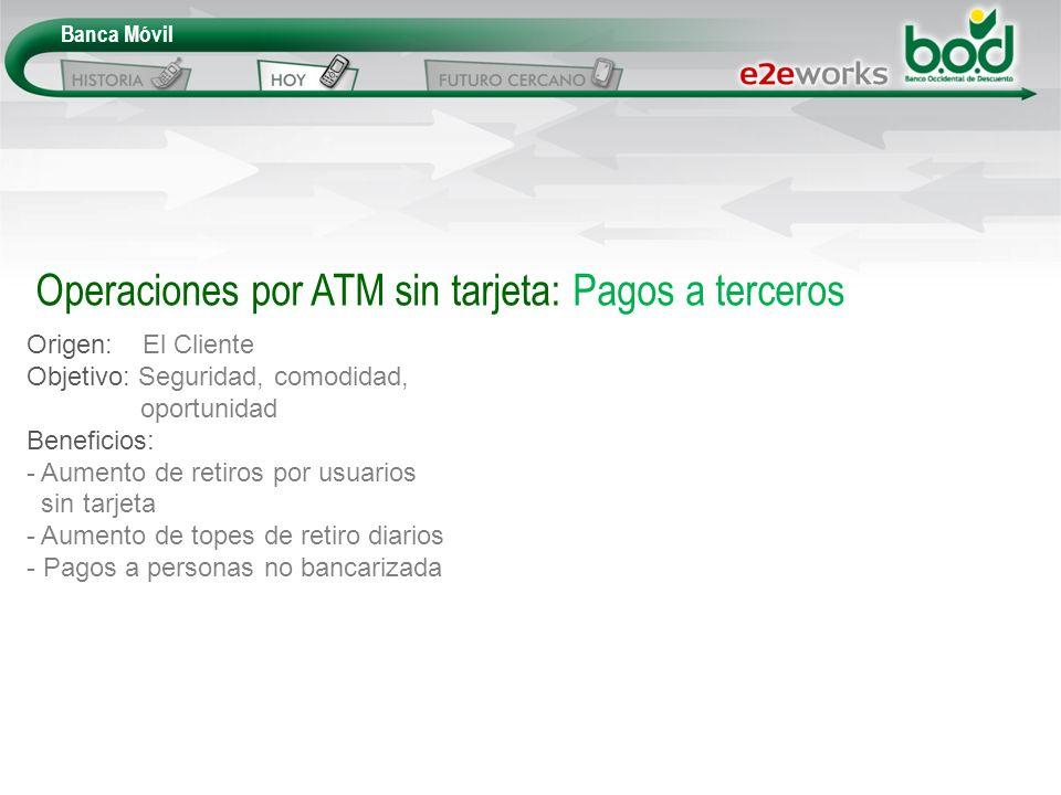 Operaciones por ATM sin tarjeta: Pagos a terceros Origen: El Cliente Objetivo: Seguridad, comodidad, oportunidad Beneficios: - Aumento de retiros por
