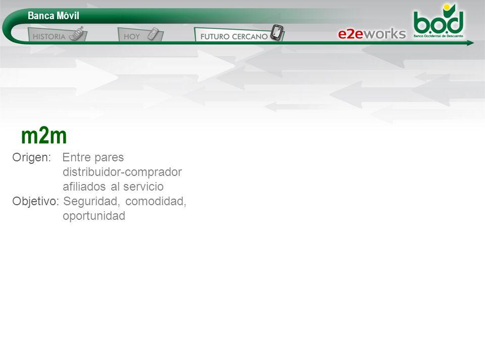 Origen: Entre pares distribuidor-comprador afiliados al servicio Objetivo: Seguridad, comodidad, oportunidad m2m
