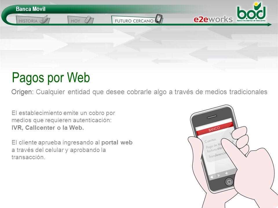 Banca Móvil Origen: Cualquier entidad que desee cobrarle algo a través de medios tradicionales Pagos por Web El establecimiento emite un cobro por med