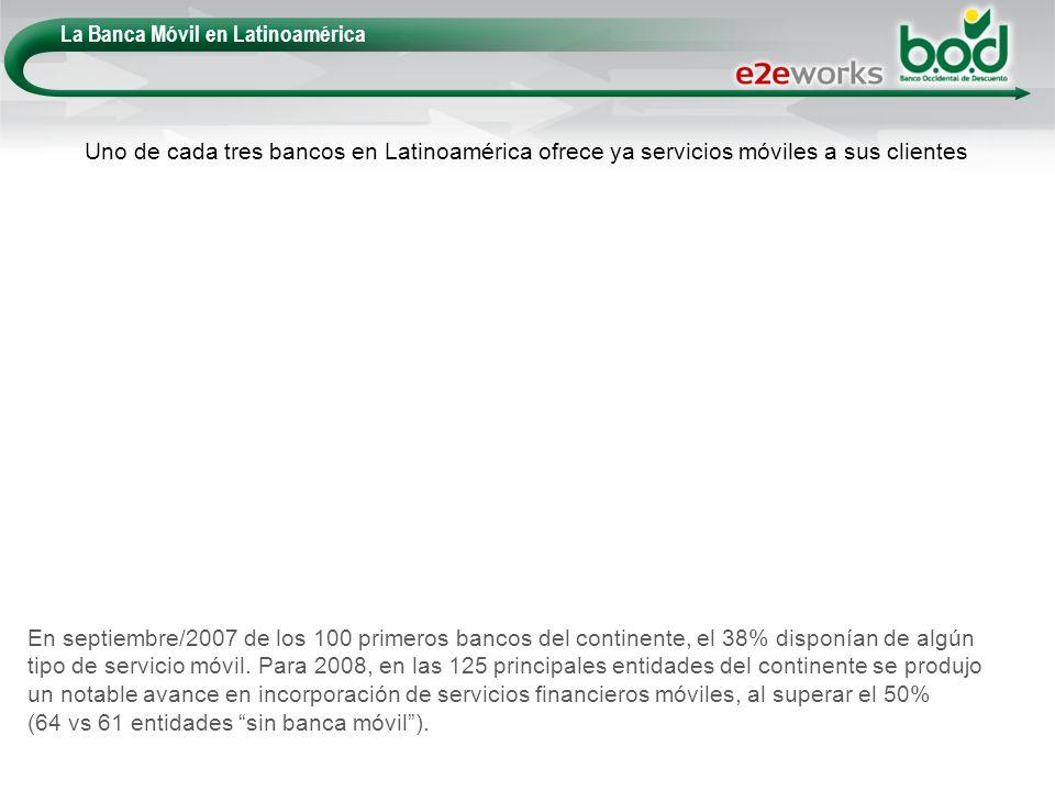 La Banca Móvil en Latinoamérica En septiembre/2007 de los 100 primeros bancos del continente, el 38% disponían de algún tipo de servicio móvil. Para 2