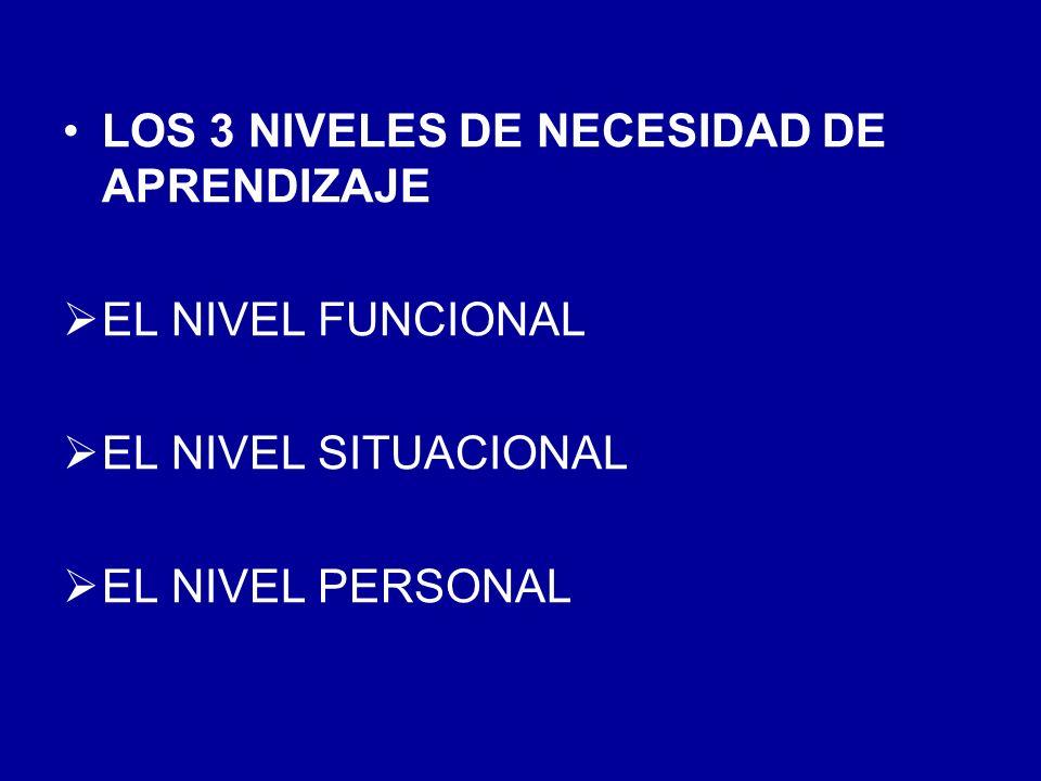 LOS 3 NIVELES DE NECESIDAD DE APRENDIZAJE EL NIVEL FUNCIONAL EL NIVEL SITUACIONAL EL NIVEL PERSONAL
