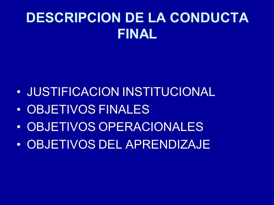 DESCRIPCION DE LA CONDUCTA FINAL JUSTIFICACION INSTITUCIONAL OBJETIVOS FINALES OBJETIVOS OPERACIONALES OBJETIVOS DEL APRENDIZAJE
