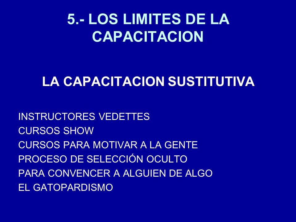 5.- LOS LIMITES DE LA CAPACITACION LA CAPACITACION SUSTITUTIVA INSTRUCTORES VEDETTES CURSOS SHOW CURSOS PARA MOTIVAR A LA GENTE PROCESO DE SELECCIÓN O