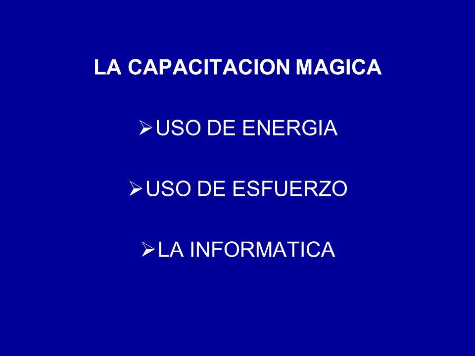 LA CAPACITACION MAGICA USO DE ENERGIA USO DE ESFUERZO LA INFORMATICA