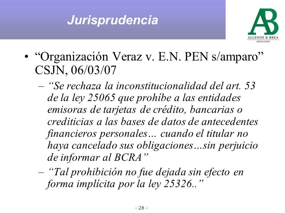 - 27 - Dictámen DNPDP 61/05 23 de marzo 2005 1.El plazo de caducidad se aplica al servicio de información crediticia y no a la fuente del dato, en este caso el Banco, quien tiene la obligación de brindar la información.