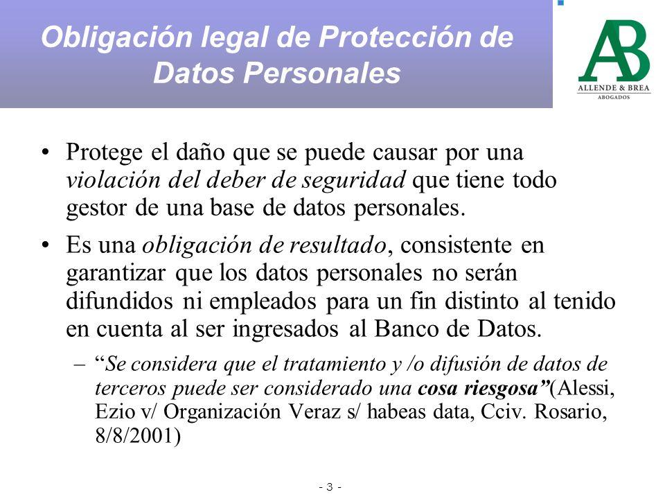 - 3 - Protege el daño que se puede causar por una violación del deber de seguridad que tiene todo gestor de una base de datos personales.