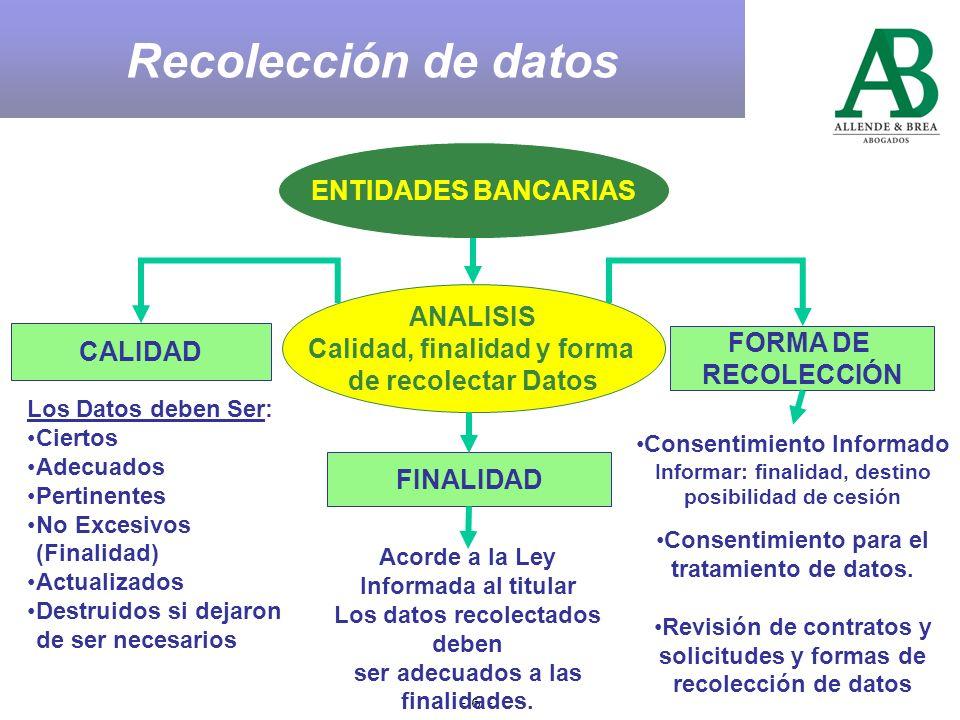 - 6 - ENTIDADES BANCARIAS ANALISIS Calidad, finalidad y forma de recolectar Datos CALIDAD FORMA DE RECOLECCIÓN FINALIDAD Acorde a la Ley Informada al titular Los datos recolectados deben ser adecuados a las finalidades.