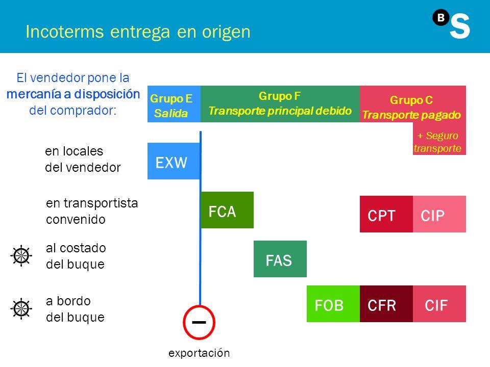 Incoterms entrega en origen El vendedor pone la mercanía a disposición del comprador: Grupo E Salida Grupo F Transporte principal debido Grupo C Trans