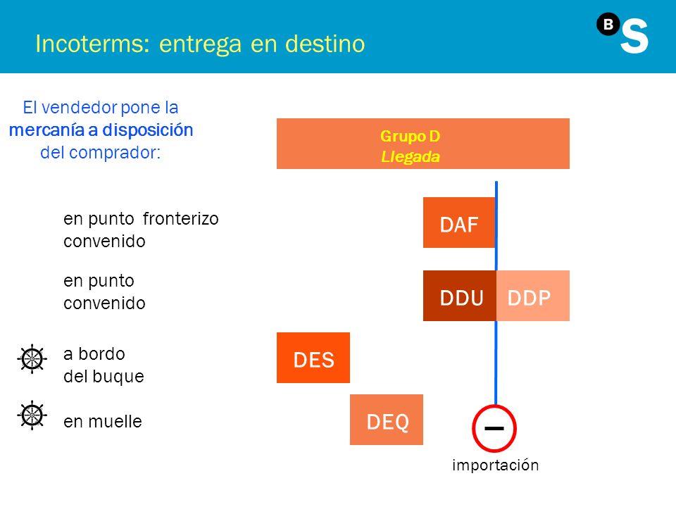 Incoterms: entrega en destino El vendedor pone la mercanía a disposición del comprador: Grupo D Llegada en punto fronterizo convenido DAF importación