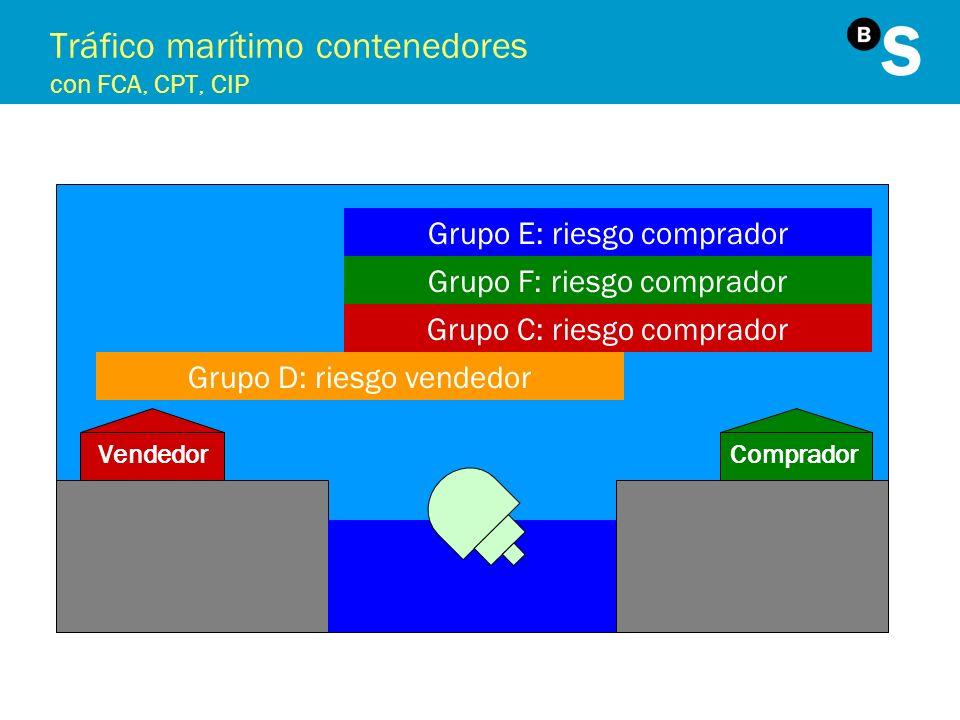 Tráfico marítimo contenedores con FCA, CPT, CIP VendedorComprador Grupo E: riesgo comprador Grupo F: riesgo comprador Grupo C: riesgo comprador Grupo