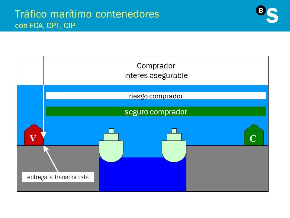Tráfico marítimo contenedores con FCA, CPT, CIP VC Comprador interés asegurable riesgo comprador seguro comprador entrega a transportista