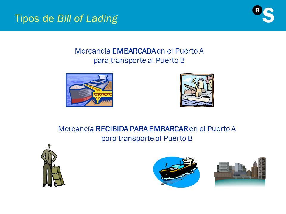 Tipos de Bill of Lading Mercancía RECIBIDA PARA EMBARCAR en el Puerto A para transporte al Puerto B Mercancía EMBARCADA en el Puerto A para transporte