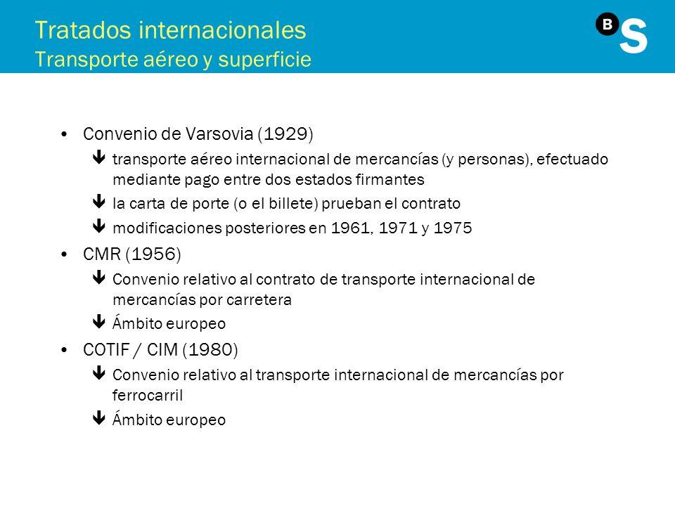 Tratados internacionales Transporte aéreo y superficie Convenio de Varsovia (1929) êtransporte aéreo internacional de mercancías (y personas), efectua