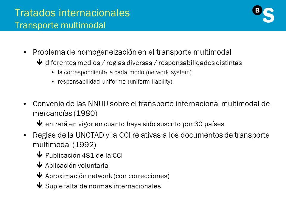 Tratados internacionales Transporte multimodal Problema de homogeneización en el transporte multimodal êdiferentes medios / reglas diversas / responsa
