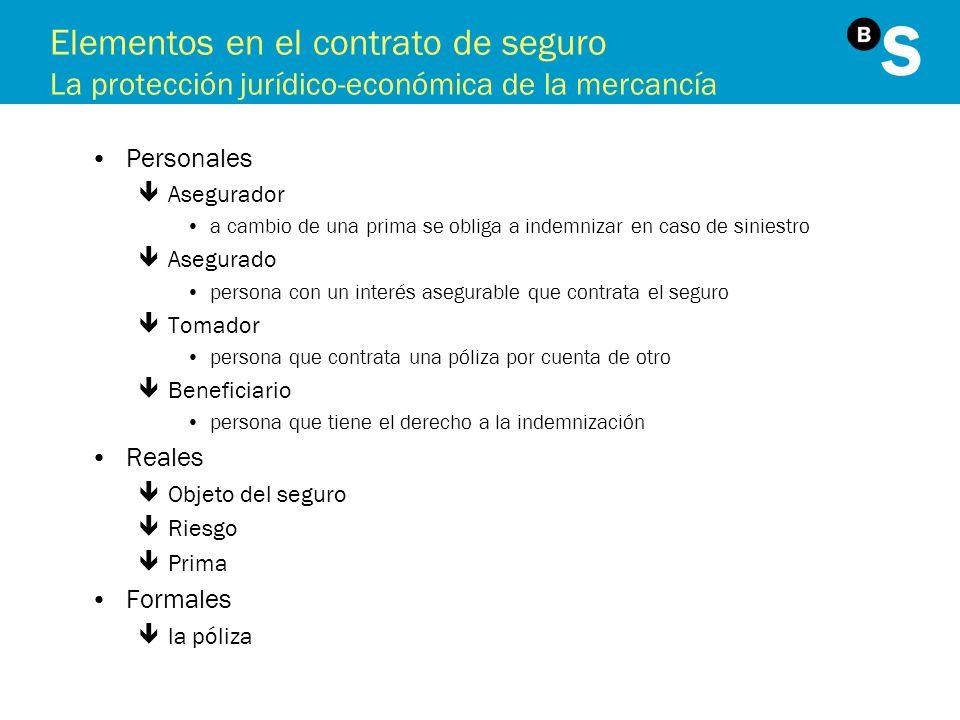 Elementos en el contrato de seguro La protección jurídico-económica de la mercancía Personales êAsegurador a cambio de una prima se obliga a indemniza