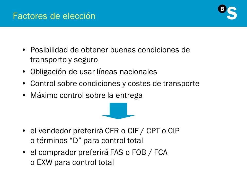 Factores de elección Posibilidad de obtener buenas condiciones de transporte y seguro Obligación de usar líneas nacionales Control sobre condiciones y