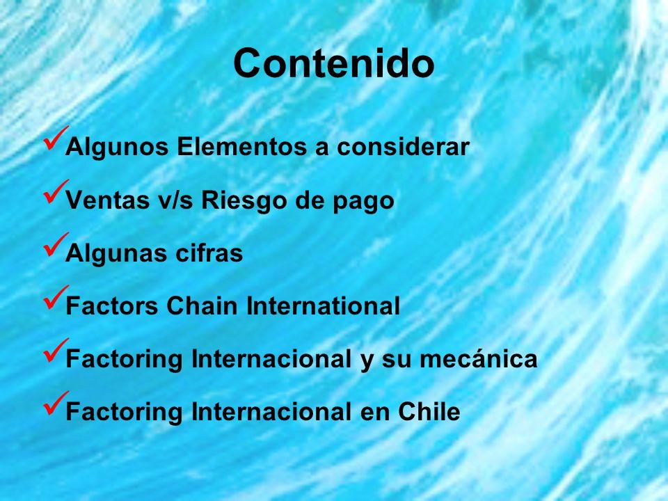 Contenido Algunos Elementos a considerar Ventas v/s Riesgo de pago Algunas cifras Factors Chain International Factoring Internacional y su mecánica Factoring Internacional en Chile