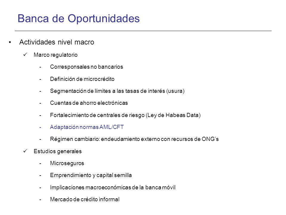 Banca de Oportunidades Actividades nivel macro Marco regulatorio -Corresponsales no bancarios -Definición de microcrédito -Segmentación de límites a las tasas de interés (usura) -Cuentas de ahorro electrónicas -Fortalecimiento de centrales de riesgo (Ley de Habeas Data) -Adaptación normas AML/CFT -Régimen cambiario: endeudamiento externo con recursos de ONGs Estudios generales -Microseguros -Emprendimiento y capital semilla -Implicaciones macroeconómicas de la banca móvil -Mercado de crédito informal