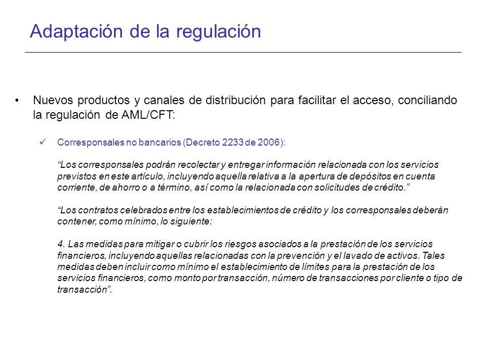 Adaptación de la regulación Nuevos productos y canales de distribución para facilitar el acceso, conciliando la regulación de AML/CFT: Corresponsales