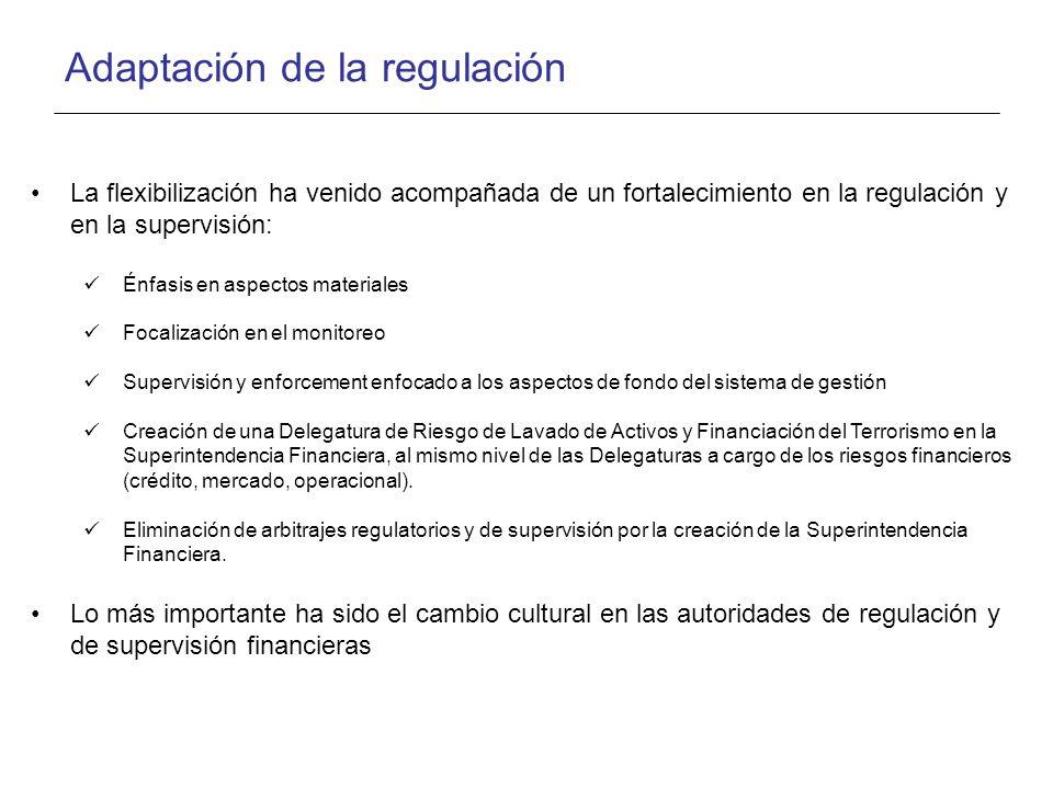Adaptación de la regulación La flexibilización ha venido acompañada de un fortalecimiento en la regulación y en la supervisión: Énfasis en aspectos materiales Focalización en el monitoreo Supervisión y enforcement enfocado a los aspectos de fondo del sistema de gestión Creación de una Delegatura de Riesgo de Lavado de Activos y Financiación del Terrorismo en la Superintendencia Financiera, al mismo nivel de las Delegaturas a cargo de los riesgos financieros (crédito, mercado, operacional).