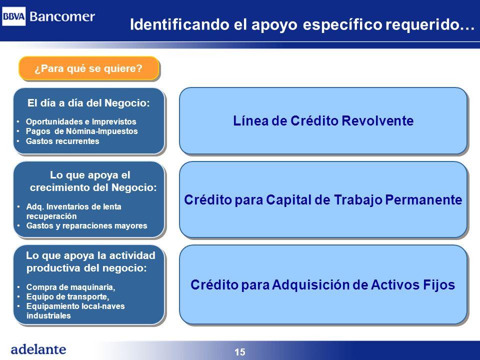 15 Identificando el apoyo específico requerido… ¿Para qué se quiere? Crédito para Adquisición de Activos Fijos El día a día del Negocio: Oportunidades