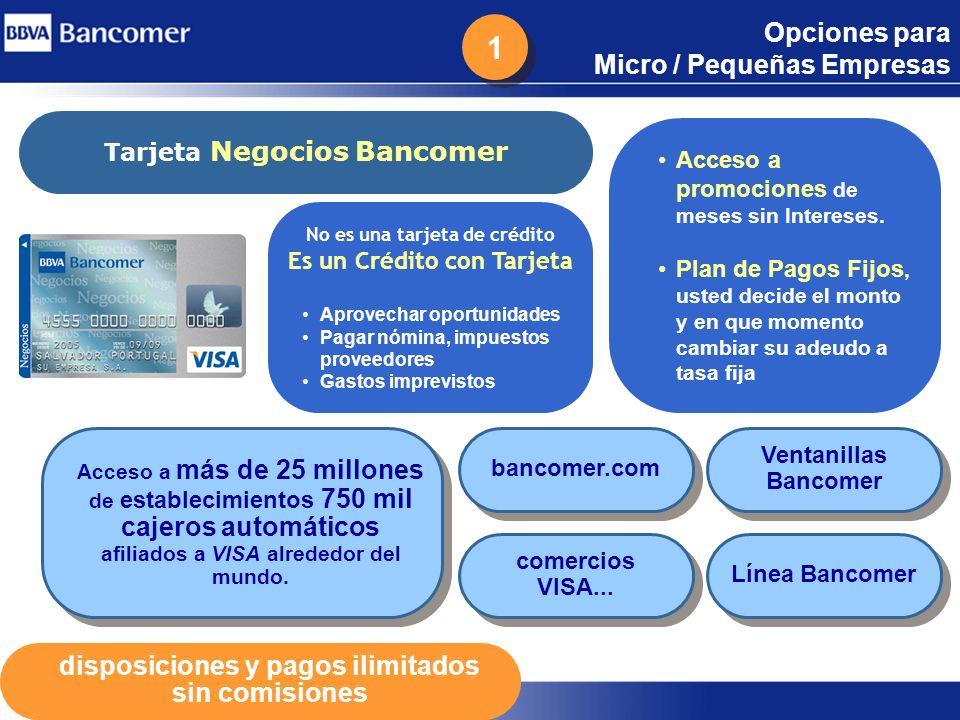 20 Opciones para Micro / Pequeñas Empresas Tarjeta Negocios Bancomer No es una tarjeta de crédito Es un Crédito con Tarjeta Aprovechar oportunidades P
