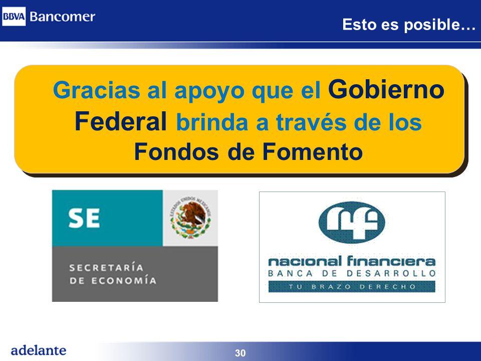 30 Gracias al apoyo que el Gobierno Federal brinda a través de los Fondos de Fomento Esto es posible…