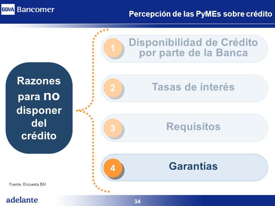34 Percepción de las PyMEs sobre crédito Razones para no disponer del crédito Disponibilidad de Crédito por parte de la Banca Tasas de interés Requisi
