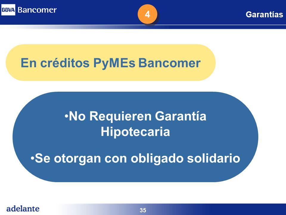 35 Garantías No Requieren Garantía Hipotecaria Se otorgan con obligado solidario En créditos PyMEs Bancomer 4 4