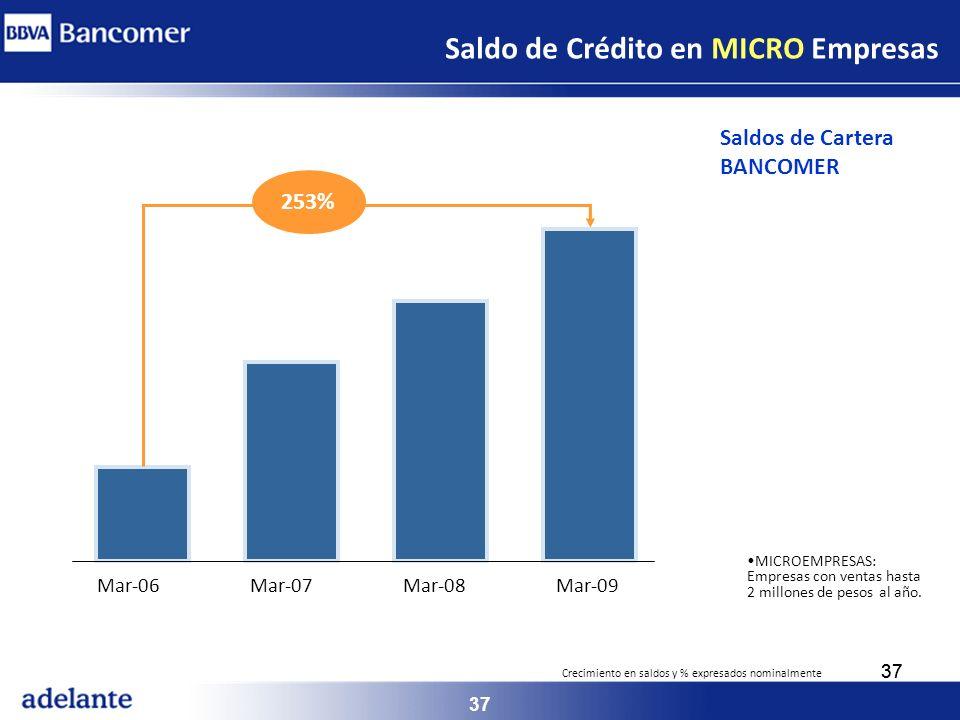 37 MICROEMPRESAS: Empresas con ventas hasta 2 millones de pesos al año. Saldo de Crédito en MICRO Empresas Mar-06Mar-07Mar-08Mar-09 253% Saldos de Car