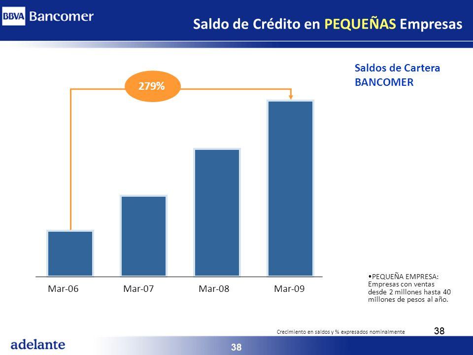 38 PEQUEÑA EMPRESA: Empresas con ventas desde 2 millones hasta 40 millones de pesos al año. Saldo de Crédito en PEQUEÑAS Empresas Mar-06Mar-07Mar-08Ma