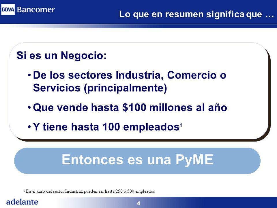 4 Lo que en resumen significa que … Si es un Negocio: De los sectores Industria, Comercio o Servicios (principalmente) Que vende hasta $100 millones a