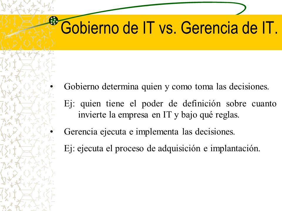 Gobierno de IT vs. Gerencia de IT. Gobierno determina quien y como toma las decisiones. Ej: quien tiene el poder de definición sobre cuanto invierte l