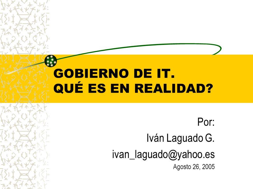 GOBIERNO DE IT. QUÉ ES EN REALIDAD? Por: Iván Laguado G. ivan_laguado@yahoo.es Agosto 26, 2005