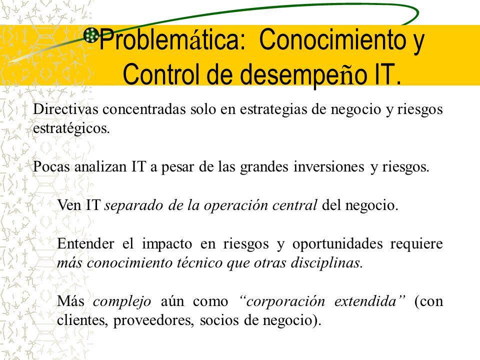 Problem á tica: Conocimiento y Control de desempe ñ o IT. Directivas concentradas solo en estrategias de negocio y riesgos estratégicos. Pocas analiza